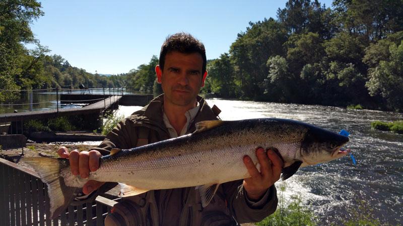 Rodrigo Llorente Caballero, de Burgos, saca un salmón de 3,900 kg en O Penedo, coto de Ximonde a cebo natural.