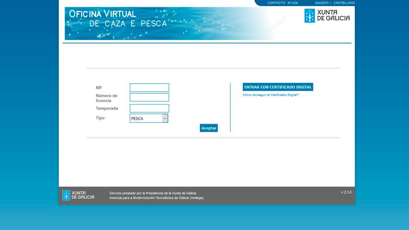 Renovar la licencia de pesca fluvial gallega s orillas for Oficina virtual xunta galicia