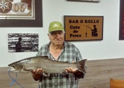Salvador Ortega García, salmón pescado en Santeles